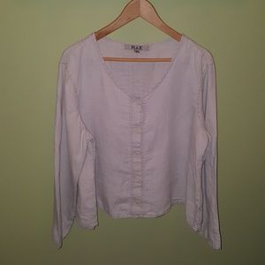 Flax Button Front Linen Cardigan